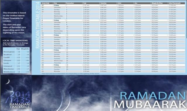 Ramdan Timetable 2014