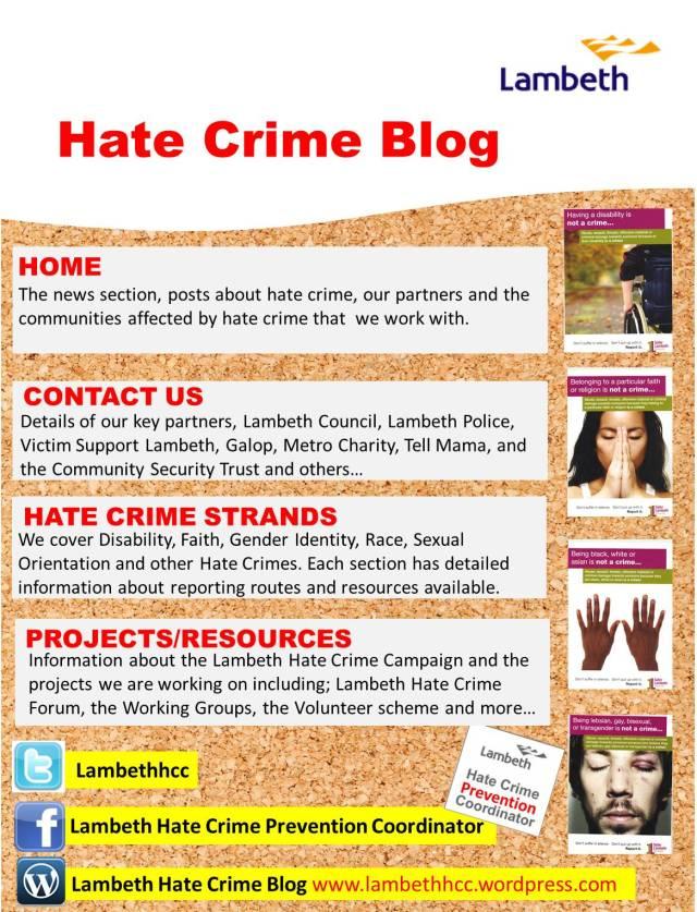 Poster advertising Lambeth Hate Crime Blog