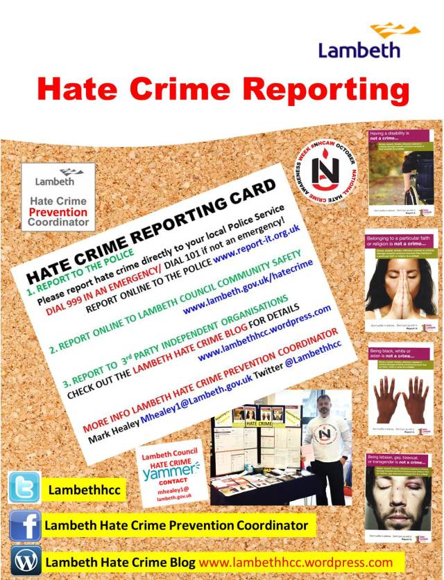 Poster advertising Hate Crime Reporting in Lambeth