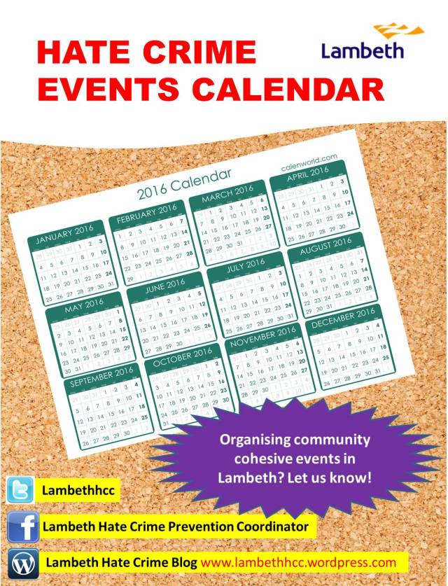 Lambeth Hate Crime Events Calendar