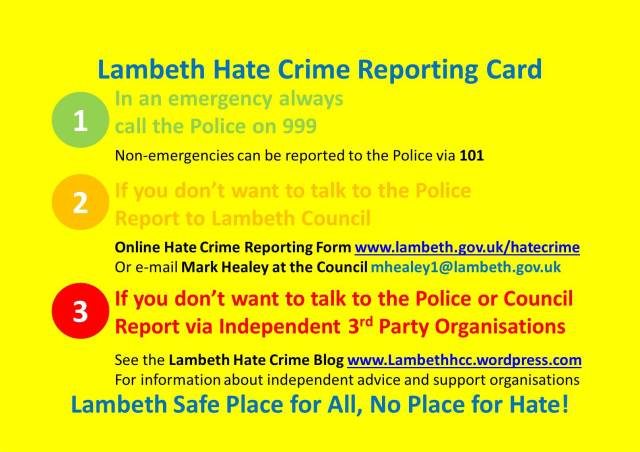 Lambeth Hate Crime Reporting Card