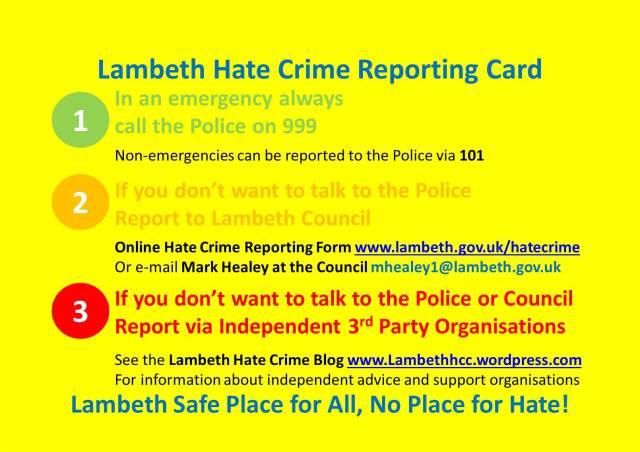 Lambeth Hate Crime Reporting Card