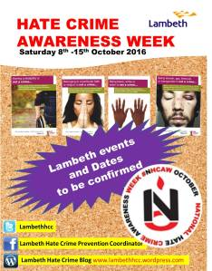 Lambeth Hate Crime Awareness Week events to be confirmed