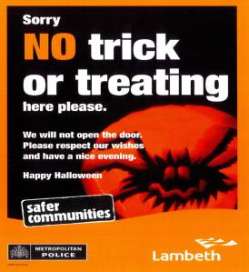 Lambeth Council's No Trick or Treating Poster