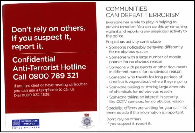 Anti-terrorism Hotline Leaflet