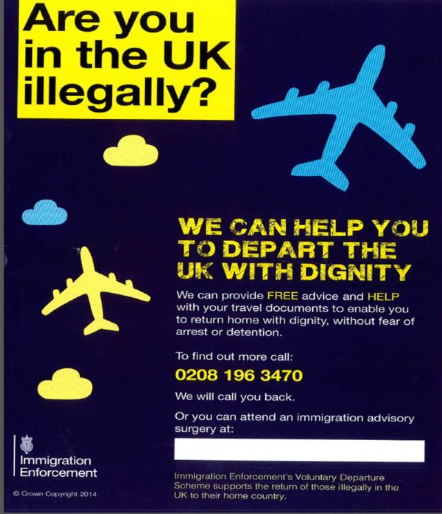 Immigration Poster - Are you in teh UK Illegally