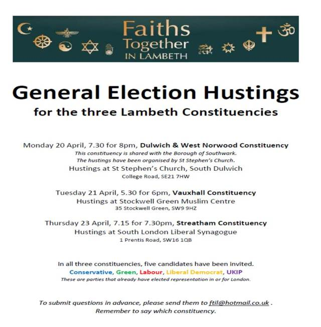 Faiths Together Lambeth Election Hustings