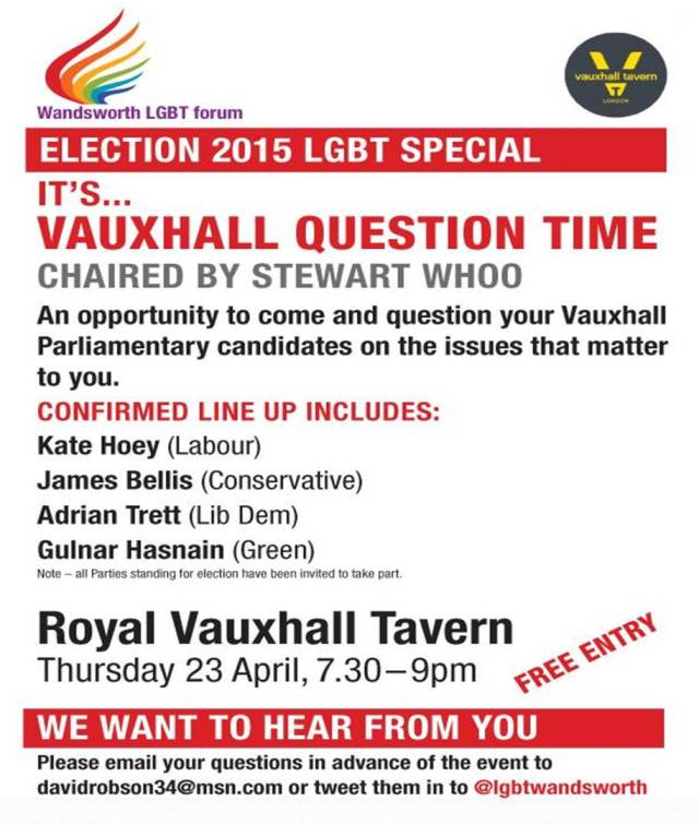 Flyer for LGBT Question Time Event at Royal Vauxhall Tavern