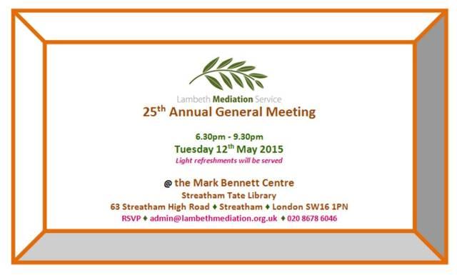 Invitation to Lambeth Mediation Service AGM