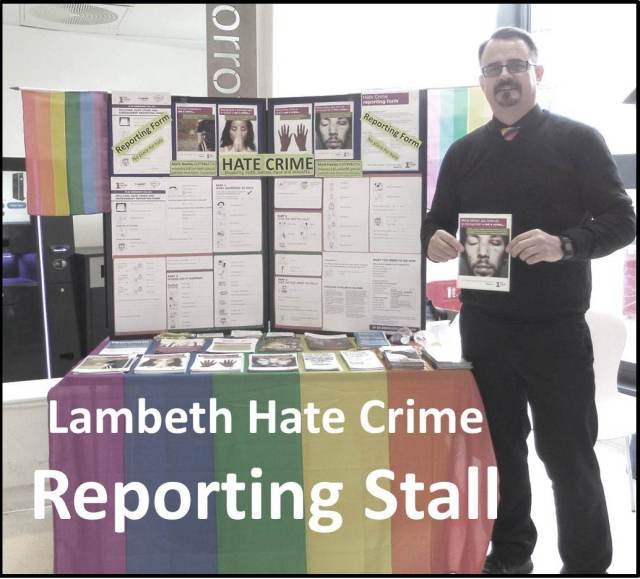 Mark Healey pictured with Lambeth Hate Crime Reporting Stall