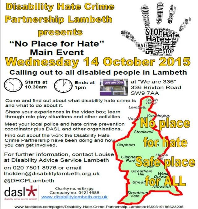 Disability Hate Crime Partnership event poster/leaflet!