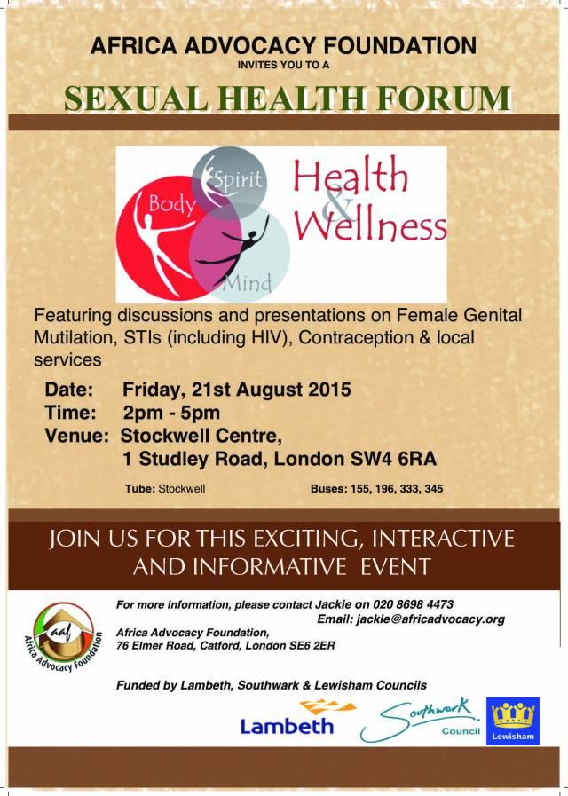 Sexual Health Forum event - flyer