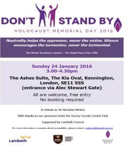 Lambeth Holocaust Memorial Day Poster 2016