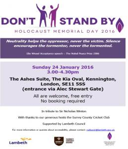 Lambeth Holocaust Memorial Day Poster 2016